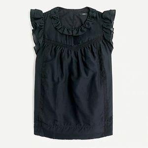 ✨NWT✨J. CREW//Flutter-sleeve top cotton-silk voile